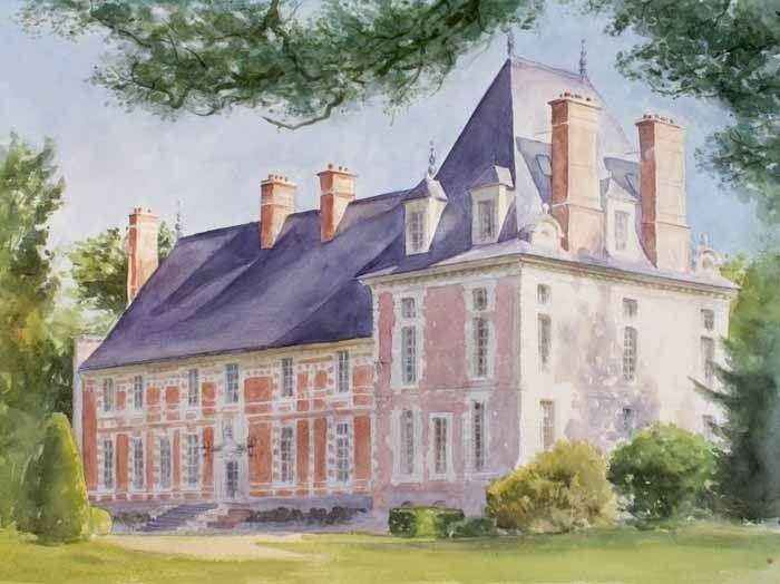 Tableau DUne Maison DUn Chteau  Peinture Aquarelle